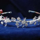 wedding hair accessories silver floral headpiece headband rhinestone bridal tiara 4824S