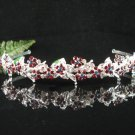 Sparkle crystal wedding accessories handmade silver alloy headband rhinestone bridal tiara 697red