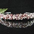 Sparkle crystal wedding accessories handmade silver alloy headband rhinestone bridal tiara 701red
