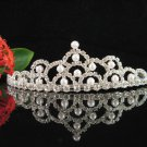 Sparkle crystal wedding accessories handmade silver pearl headpiece rhinestone bridal tiara 4475