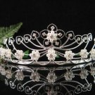 Antique Silver Diamond White Pearl Crystal Bride Bridesmaid Tiara Headband 5119