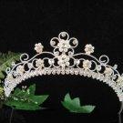 Sparkle crystal wedding accessories handmade silver pearl headpiece rhinestone bridal tiara 5832