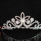 Sparkle crystal floral wedding accessories handmade silver headpiece rhinestone bridal tiara 569