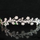 Crystal floral wedding accessories ,silver Bride headband rhinestone bridal tiara 682
