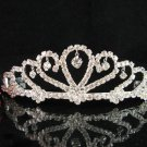 Bride tiara sparkle crystal wedding bridesmaid accessories silver metal rhinestone headpiece 8014