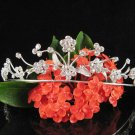 wedding tiara bridal hair accessories handmade silver rhinestone metal alloy floral regal  779