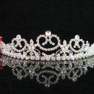 wedding tiara bridal hair accessories rhinestone handmade silver metal crystal regal  843