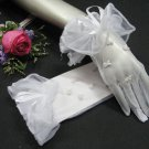"9.5"" Wedding Organza Gloves ,White pearl Wrist Bridal Gloves Accent 25w"