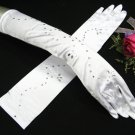 "15"" Satin rhinestone Wedding Gloves,White Elbow Bridal Gloves Accent 88w"