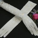 "19""Lycra Embroidery Wedding Gloves,Ivory opera long Bridal Gloves Accent 234i"