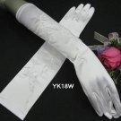 """15"""" Embroidery Wedding Gloves,Satin Beaded elbow Bridal Gloves Accent 18"""