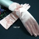 """12.5"""" Wrist Wedding Gloves,Butterfly Tie Satin Beaded Bridal Gloves Accent 11p"""