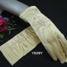 """8"""" Wrist yellow Color Wedding Gloves ,Satin Beaded Bridal Gloves Accent 09y"""