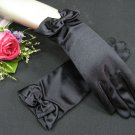 "8"" Wrist Wedding Gloves,Butterfly Tie Satin Beaded Bridal Gloves Accent 10"