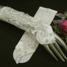 "11.5""Elbow Ivory Embroidery Fingerless Wedding Gloves ,Satin French lace Beaded Bridal Gloves 56i"