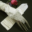 "12""Elbow Ivory French lace Fingerless Wedding Gloves ,Satin Rhinestone Bridal Gloves 67i"