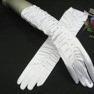"13.5"" Satin white Wedding Gloves,Elbow rhinestone bridal Gloves 25w"