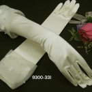 "14.5"" Satin Elbow Ivory Wedding Gloves,French lace pearl bridal Gloves 33i"