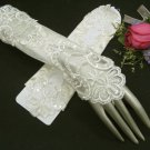 "11.5"" Satin Elbow Ivory Wedding Gloves,French lace pearl bridal Gloves 36i"