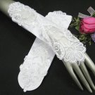 """11.5"""" Satin Elbow white Wedding Gloves,French lace pearl bridal Gloves 36w"""