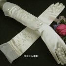 "16.5"" Embroidery Satin Elbow ivory Wedding Gloves,French lace Sequin bridal Gloves 39i"