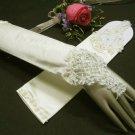 """12"""" Satin Rhinestone Elbow ivory Wedding Gloves,French lace bridal Gloves 68i"""