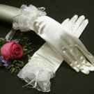 "10"" Satin wrist ivory Wedding Gloves,organza french lace ribbon floral short bridal Gloves 9i"
