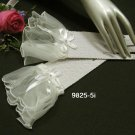 "10""floral wrist ivory crochet Wedding Gloves,organza ribbon short bridal Gloves 5i"