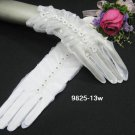 "10"" white wrist Wedding Gloves,floral sheer organza rhinestone bridal Gloves 13w"