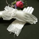 "10.5"" ivory wrist bridal gloves,organza french lace pearl wedding gloves 7i"