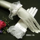 "10"" ivory wrist bridal gloves,sheer organza ribbon pearl wedding gloves 14i"