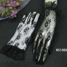 "10"" wrist french lace bridal gloves,black wedding gloves 9519bk"