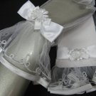 "11"" wrist white sheer organza bridal gloves,embroidery ribbon floral pearl wedding gloves 45w"