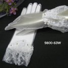 "10"" wrist white sheer organza bridal gloves,french lace floral rhinestone wedding gloves 63w"