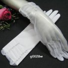 "11"" simple white bridal glove,sheer organza pearl wrist wedding gloves 28w"