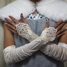 "12"" bride bridesmaid elbow glove satin ivory pearl french lace wedding gloves 64i"