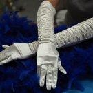 "15"" bride bridesmaid ivory elbow glove,satn pleat wedding gloves 22i"