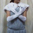 "19"" bride bridesmaid white long gloves ,graphic pattern wedding gloves 82w"