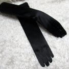 "19"" bride bridesmaid black long gloves ,satin plain wedding gloves 7bk"