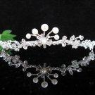 Handmade Pearl Bridal Queen Party Silver Elegance Rhinestone headpiece Tiara Crown 6658