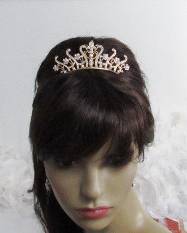 Bride, bridesmaid Wedding Elegant Alloy Hair Comb,Golden vintage Crystal Rhinestones Tiara 758g