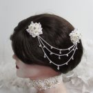 Bride, bridesmaid Wedding Alloy Silver Hair Comb,Organza Floral Crystal Rhinestones Clip #1579
