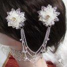 Bridal Tiara ,bridesmaid Wedding Silver Comb,Organza Porcelain Crystal Rhinestones Bride Clip #1585