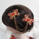 Bridal Tiara ,bridesmaid Golden Wedding Comb,Butterfly Crystal Rhinestones Bride Clip #1375r