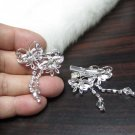 Bridal Tiara ,bridesmaid Wedding Silver Comb,Butterfly Comb,Rhinestones Pair Of Bride Clip #1767