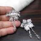 Bridal Tiara ,bridesmaid Wedding Silver Comb,Small Floral Comb,Rhinestones Pair Of Bride Clip #1770