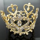 Elegant Pageant Bridal Tiara Princess Rhinestone Golden Bridal Crown Headband,Wedding Tiara 59g