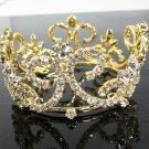 Pageant Bridal Tiara Wedding Princess Rhinestone Golden Bridal Crown Headband,bride Tiara 63g