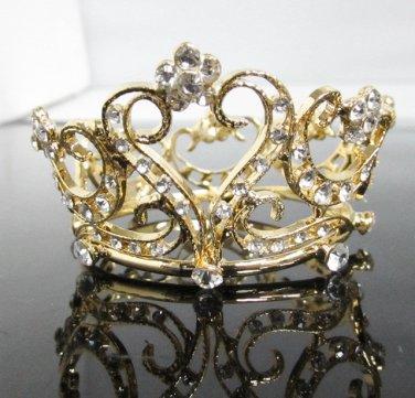 Bridal Tiara Wedding Rhinestone Golden Sweetheart Bridal Small Crown Headpiece,Bride Tiara 112g