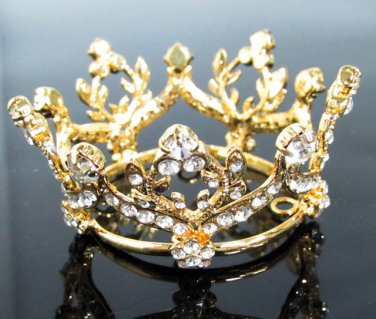 Bridal Tiara Wedding Rhinestone Golden Floral Bridal Small Crown Headpiece,Bride Tiara 190g